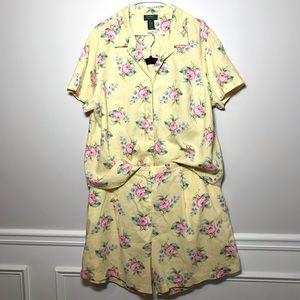 LRL Floral Linen Shorts And Button Down Shirt Set